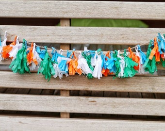 Tissue Paper Tassel Garland / Birthday Party Garland / Orange Green Blue Tassel Garland / Fall Garland / Woodland Baby Shower Banner