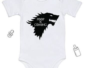 Game of Thrones Baby Game of Thrones gift POOP IS COMING Game of Thrones Onesie Baby Bodysuit BabyGrow Cotton Baby Shower Unique Baby Gift