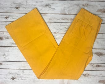 Vintage Wide Leg High Waisted Pants, Jean Leduc Yellow Slacks, Cotton, made in France