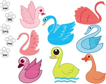 Swan SVG Files, Bird svg, Goose SVG, Duck Clipart,  cricut, cameo, silhouette cut files commercial & personal use