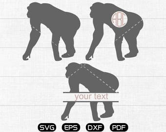Gorilla Svg, Gorilla Clipart, Monogram Frame cricut, cameo, silhouette cut files commercial & personal use