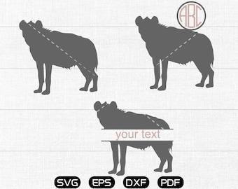 Hyena Svg, Hyena Clipart, Monogram Frame cricut, cameo, silhouette cut files commercial & personal use