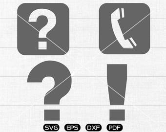 Question mark svg Files, Exclamatory mark svg, telephone Clipart, cricut, cameo, silhouette cut files commercial & personal use