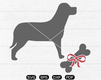 Dog & Bone SVG Files, Bow Dog Clipart, cricut, cameo, silhouette cut files commercial  personal use