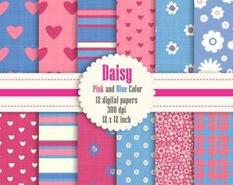 12 Daisy Flower Digital Paper in Pink and Blue Color 12 inch 300 Dpi Instant Download, Scrapbook Papers, Commercial Use