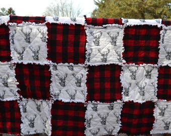 Deer Rag Quilt / Buffalo Plaid / Handmade / One of a Kind / Ready to Ship /  FREE SHIPPING / PERSONALIZE