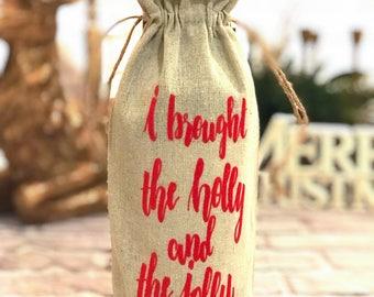 Holiday Wine Gift Bag, Christmas Wine bag, Burlap Wine Bag