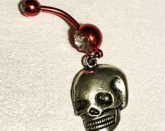 Red anodized stainless steel rhinestone 14g belly button ring navel body jewelry with silver laughing skull charm