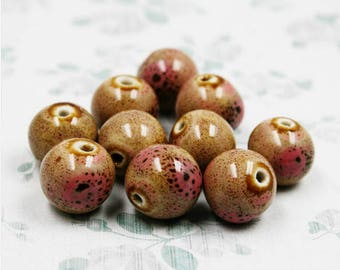 10 ceramic beads Brown and pink speckled 8 mm in diameter