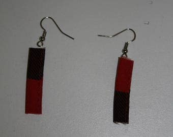 earring, hunting red black plaid fabric