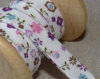Biais à petites fleurs turquoises et violettes - Froufrou