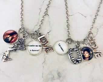 Delena paired pendants, the vampire diaries jewelry, Elena Gilbert