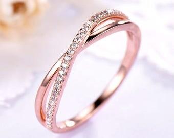 CZ Diamond Wedding Band Rose Gold 14k 18k 925 Sterling Silver Half Eternity Infinity Stacking Ring Bridal Anniversary Matching Band Twist