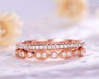Rose Gold Wedding Ring Set 14k 18k 925 Sterling Silver CZ Diamond Half Eternity Stackable Engagement Bridal Stacking Band Anniversary Gift