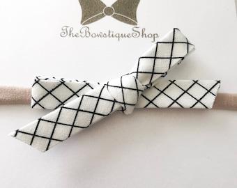 Black and White Graph Print    School Girl Bow    Headband    Alligator Clip