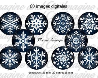 Snowflakes / Cabochon digital image instant download collage sheet digital bottle cap printable instant download