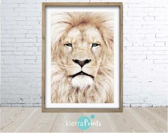 Lion print, large printable wall art, wall decor, digital download, modern, poster,