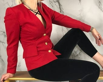 Vintage Collarless Red Wool Blazer | Fitted Jacket | Gold Buttons | Made In USA | S | M