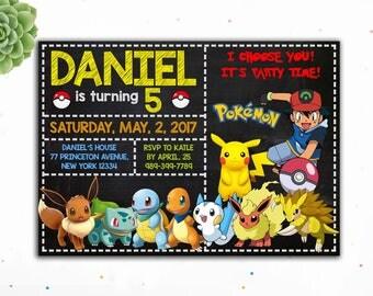 Editable PDF- Pokemon Birthday Invitation, Pikachu Birthday Invitation, Birthday Invitation for Boys, Birthday Invitation for Girls
