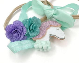 Set of 3 baby headband, baby headband an bows, headband set, unicorn headband, hair bow for girls, Flower headband, new born hair bow