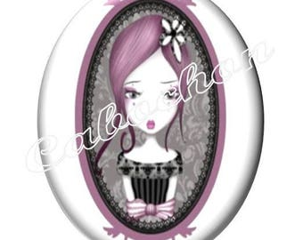 1 cabochon 30mm x 40mm glass, little girl