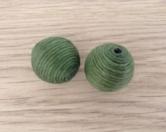 Large beads textile green x 2