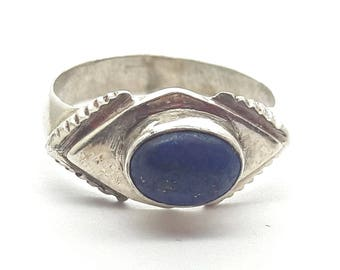 Vintage Lapis Sterling Silver Ring/Free Shipping US/Handmade/Lapis Lazuli/September Birthstone/ Christmas/Birthday/Valentine/Anniversary