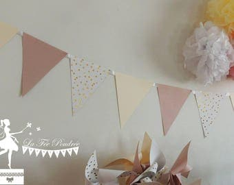 12 Bunting pink blush ivory white and gold 155cm
