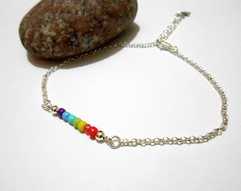 Rainbow chain Anklet silver
