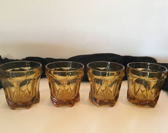 Vintage Amber Rocks Anchor Hocking Fairfield Glasses Set of Four