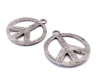 Set of 2 charms Peace and Love silver Metal