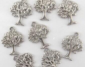 8 silver metal tree charms - bc109