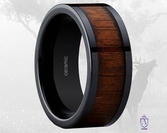 Ceramic Ring With Genuine Rosewood Inlay   Men's 9mm Smoke Black Ceramic Wedding Band with Stunning Hawaiian Rosewood Inlays