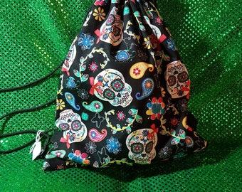 Festival Skull Drawstring Bag