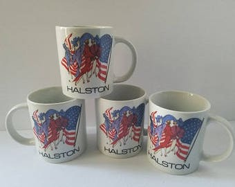 HALSTON Fashion Show Coffee Mug American Flag Patriotic, Iconic 1970s Clothing,  Fashion-Designer-Halston-Coffee-cup, Discotheque.  American