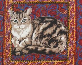 Coupon Tissu Patchwork Panneau vignette Etiquette CHAT sur fond de tapis persan n 1