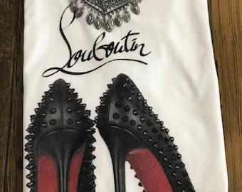 Fashion Louboutin high heel shoes tee