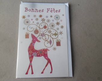 """x 1 greeting card """"Bonne"""" depicting a beautiful multicolored deer and rhinestones with its envelope 17,5 x 11,5 cm"""