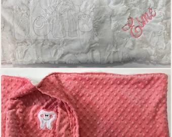 Personalized Minky Pillow case, hidden minky tooth pocket, soft minky, tooth fairy pillow case