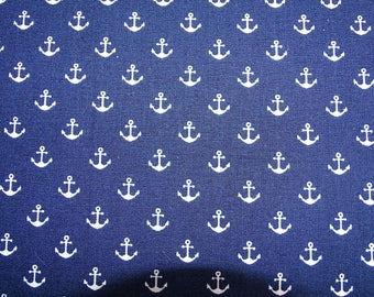 "Printed cotton fabric ""Navy"" pattern with little anchors on Navy fondbleu designs"