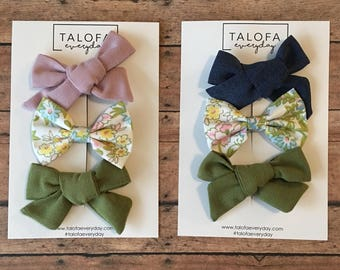 Floral and Linen Hair Bow Sets