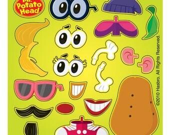 "20 Make-Your-Own Mr Potato Head ""Spud"" Stickers, 2.5"" x 2.5"""