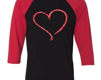 Heart love Baseball Raglan, Valentines Day Shirt, Custom Valentines Day Gift, Gift for Her, Youth Valentines Day Shirt, Heart, Valentines