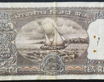 Vintage India Currency - 10 Rupees