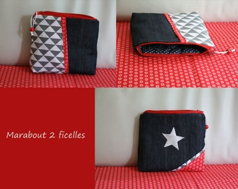 "Waterproof Kit ""red star"" _ NOVELTY denim, cotton and faux leather"