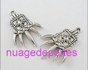 2 claw pendant Gothic necklace bracelet set