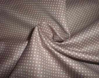 Embroidery 70 X 50 cm 100% cotton beige / taupe polka dots 1 mm