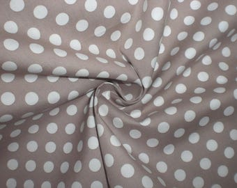 Embroidery 70 X 50 cm 100% cotton beige / taupe polka dots with 10 mm