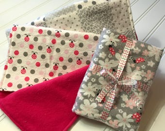 Set of 3 Flannel Cotton Burp cloths, Pink & Gray, Ladybugs, baby girl burp rag set, baby girl baby shower gift, burpcloths, dots, flowers