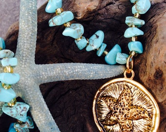 Gift for Her - Starfish Necklace - Turquoise Chip Necklace - Resort Jewelry - Jewelry for a Cruise